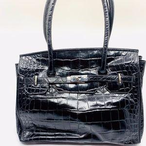 Crocodile pattern embossed leather satchel